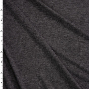 Charcoal Grey Heather Slubbed Stretch Sweater Knit Fabric By The Yard