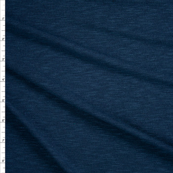 Navy Slubbed Stretch Sweater Knit Fabric By The Yard