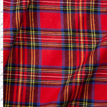 Red, Yellow, Black, and Blue Plaid Flannel Fabric By The Yard