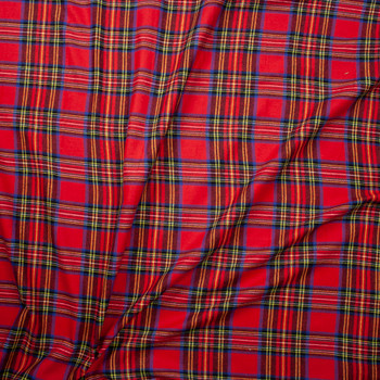 Red, Yellow, Black, and Blue Plaid Flannel Fabric By The Yard - Wide shot