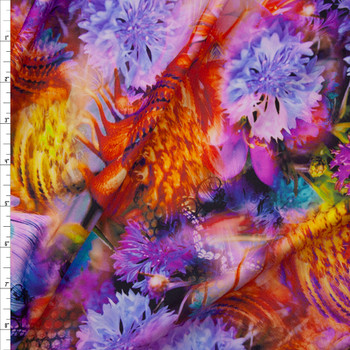 Vibrant Kaleidoscope Floral Nylon/Spandex Fabric By The Yard