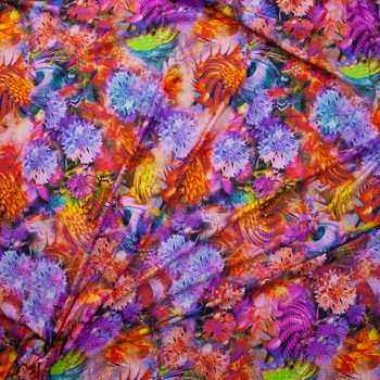 Vibrant Kaleidoscope Floral Nylon/Spandex Fabric By The Yard - Wide shot