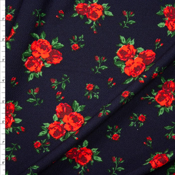 Red and Green Rose Floral on Navy Crepe Look Liverpool Knit Fabric By The Yard