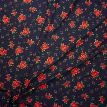 Red and Green Rose Floral on Navy Crepe Look Liverpool Knit Fabric By The Yard - Wide shot