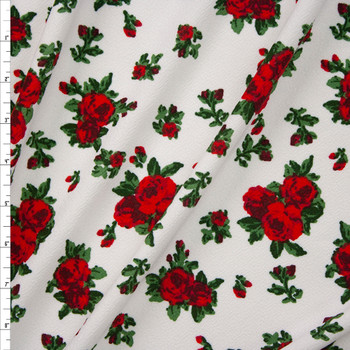 Red and Green Rose Floral on Offwhite Fabric By The Yard