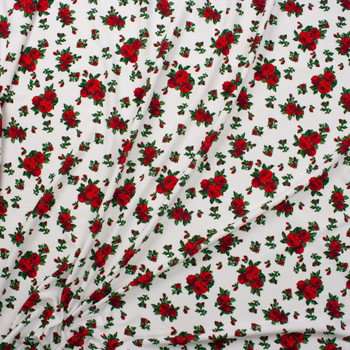 Red and Green Rose Floral on Offwhite Fabric By The Yard - Wide shot
