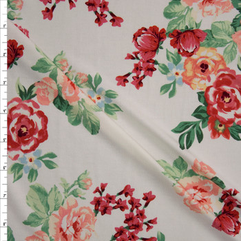 Peach and Burgundy Rose Floral on Warm White Jersey Knit Fabric By The Yard
