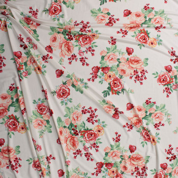 Peach and Burgundy Rose Floral on Warm White Jersey Knit Fabric By The Yard - Wide shot