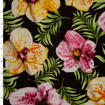 Pink and Yellow Island Hibiscus on Black Jersey Knit Fabric By The Yard