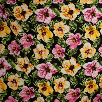 Pink and Yellow Island Hibiscus on Black Jersey Knit Fabric By The Yard - Wide shot