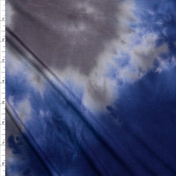 Navy, Grey, and Tan Tie Dye Jersey Knit Fabric By The Yard