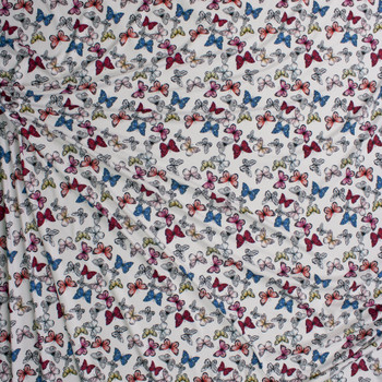 Butterflies on Warm White Double Brushed Poly/Spandex Knit Fabric By The Yard - Wide shot