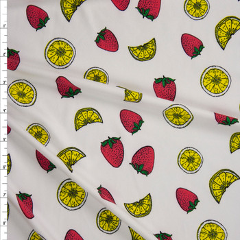 Strawberries and Lemon Slices on Warm White Double Brushed Poly/Spandex Knit Fabric By The Yard
