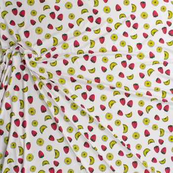 Strawberries and Lemon Slices on Warm White Double Brushed Poly/Spandex Knit Fabric By The Yard - Wide shot