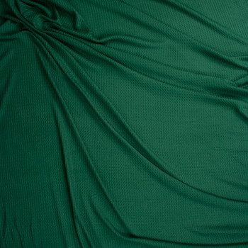 Emerald Green Soft Waffle Knit Fabric By The Yard - Wide shot