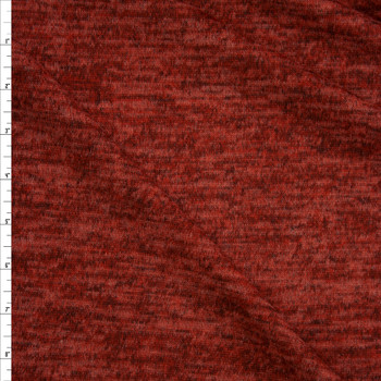 Heather Brick Red Brushed Sweater Knit Fabric By The Yard