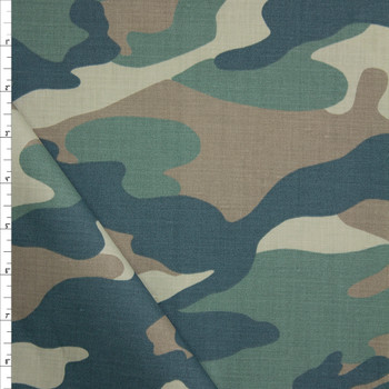 Faded Classic Camouflage Cotton Twill Fabric By The Yard