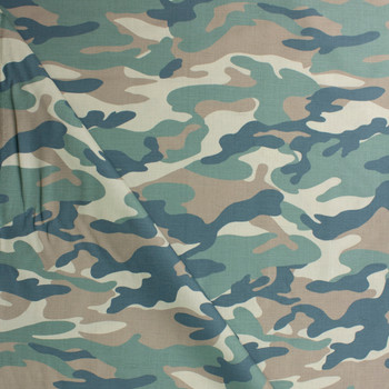 Faded Classic Camouflage Cotton Twill Fabric By The Yard - Wide shot