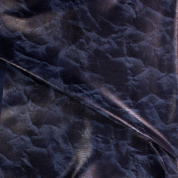 Gloss Grunge Snakeskin on Indigo Stretch Denim Fabric By The Yard - Wide shot