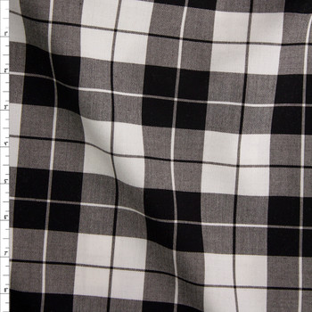Black and White Plaid Stretch Midweight Poplin Fabric By The Yard