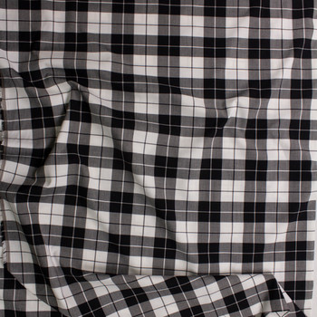 Black and White Plaid Stretch Midweight Poplin Fabric By The Yard - Wide shot