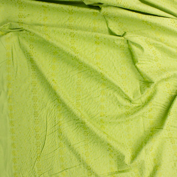 Lime Green Vertical Embroidered Cotton Eyelet Fabric By The Yard - Wide shot