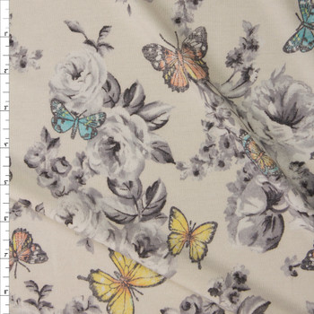Butterflies on Grey and Ivory Floral Stretch Rayon French Terry Fabric By The Yard