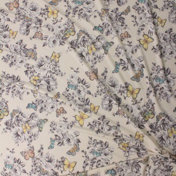 Butterflies on Grey and Ivory Floral Stretch Rayon French Terry Fabric By The Yard - Wide shot