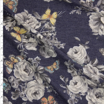 Butterflies on Grey and Navy Floral Stretch Rayon French Terry Fabric By The Yard