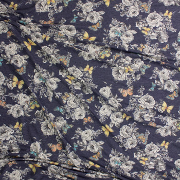 Butterflies on Grey and Navy Floral Stretch Rayon French Terry Fabric By The Yard - Wide shot