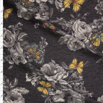 Butterflies on Grey and Charcoal Heather Floral Stretch Rayon French Terry Fabric By The Yard