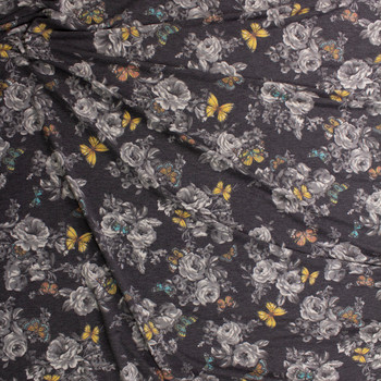 Butterflies on Grey and Charcoal Heather Floral Stretch Rayon French Terry Fabric By The Yard - Wide shot