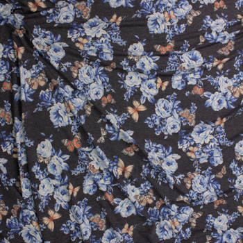 Butterflies on Light Blue and Charcoal Floral Stretch Rayon French Terry Fabric By The Yard - Wide shot