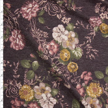 Mauve, Ivory, and Mustard Floral on Brown Stretch Rayon French Terry Fabric By The Yard