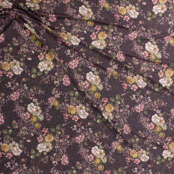 Mauve, Ivory, and Mustard Floral on Brown Stretch Rayon French Terry Fabric By The Yard - Wide shot
