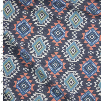 Southwestern Medallions on Charcoal Stretch Rayon French Terry Fabric By The Yard