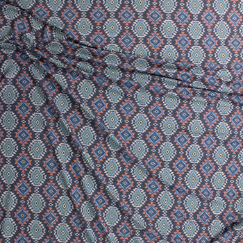 Southwestern Medallions on Charcoal Stretch Rayon French Terry Fabric By The Yard - Wide shot