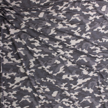 Light Grey Camouflage Stretch Rayon French Terry Fabric By The Yard - Wide shot