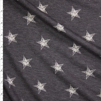 White Grunge Stars on Charcoal Rayon French Terry Fabric By The Yard