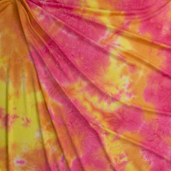 Pink, Yellow, and Orange Tie Dye Rayon French Terry Fabric By The Yard - Wide shot