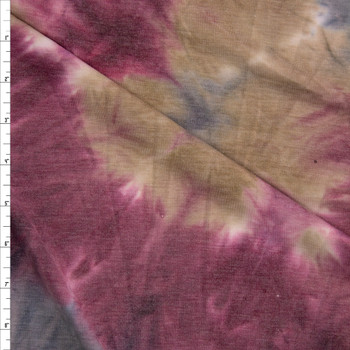 Wine, Tan, and Grey Te Dye Rayon French Terry Fabric By The Yard