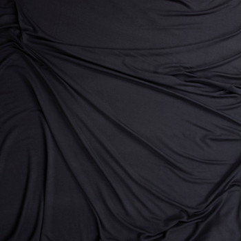 Black Lightweight Bamboo French Terry Fabric By The Yard - Wide shot