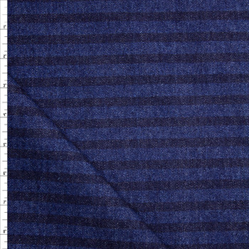 Indigo and Indigo Horizontal Stripe Heavy Denim Fabric By The Yard