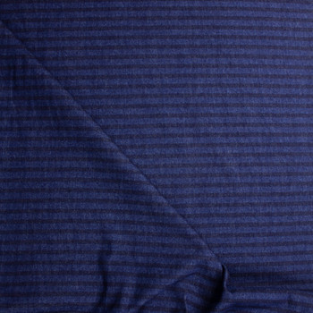 Indigo and Indigo Horizontal Stripe Heavy Denim Fabric By The Yard - Wide shot