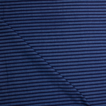 Indigo and Medium Blue Horizontal Stripe Heavy Denim Fabric By The Yard - Wide shot