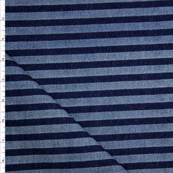 Indigo and Light Blue Horizontal Stripe Heavy Denim Fabric By The Yard