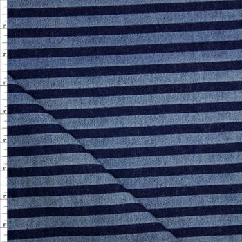 Indigo and Light Blue Horizontal Stripe Heavy Denim Fabric By The Yard