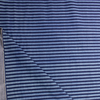 Indigo and Light Blue Horizontal Stripe Heavy Denim Fabric By The Yard - Wide shot