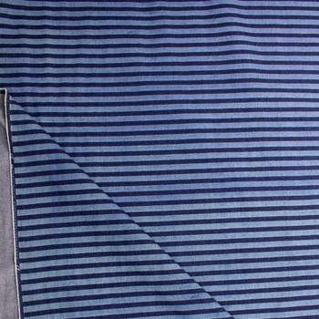 Indigo and Light Blue Horizontal Stripe Heavy Denim Fabric By The Yard - Wide shot