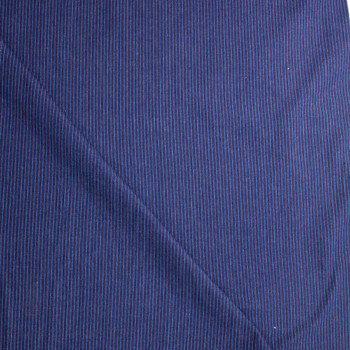 Light Blue on Indigo Vertical Stripe Heavy Denim Fabric By The Yard - Wide shot